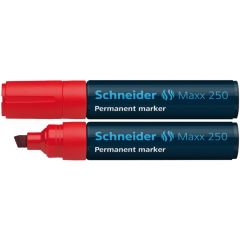 Permanent marker SCHNEIDER Maxx 250, varf tesit 2+7mm - rosu