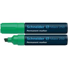 Permanent marker SCHNEIDER Maxx 250, varf tesit 2+7mm - verde