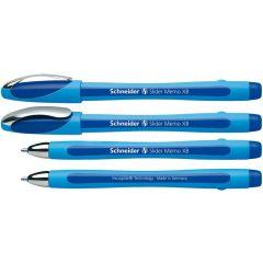 Pix SCHNEIDER Slider Memo XB, rubber grip, accesorii metalice - scriere albastra