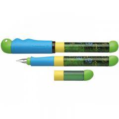 Stilou SCHNEIDER Base Kid (tip A - incepator) - corp gri/verde cu décor