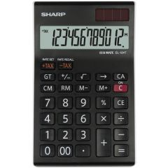 Calculator de birou, 12 digits, 152 x  96 x 12 mm, dual power, SHARP EL-124TWH - negru/alb