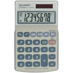 Calculator de buzunar,  8 digits, 116 x 71 x 17 mm, dual power, capac plastic, SHARP EL-240SAB - gri