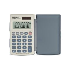 Calculator de buzunar,  8 digits, 105 x 64 x 11 mm, dual power, capac plastic, SHARP EL-243S - gri