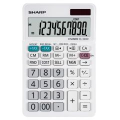 Calculator de birou, 10 digits, 152 x  94 x 28 mm, dual power, SHARP EL-330W - alb
