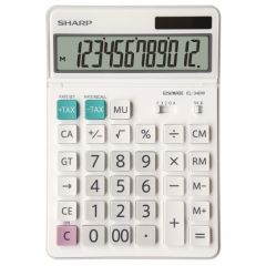 Calculator de birou, 12 digits, 189 x 127 x 18 mm, dual power, ecran rabatabil, SHARP EL-340W - alb