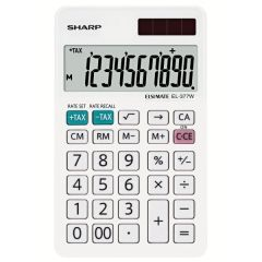 Calculator de birou, 10 digits, 120 x  71 x 10 mm, dual power, SHARP EL-377W - alb