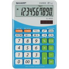 Calculator de birou, 10 digits, 149 x  100 x 27 mm, dual power, SHARP EL-M332BBL - gri/bleu