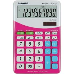 Calculator de birou, 10 digits, 149 x  100 x 27 mm, dual power, SHARP EL-M332BBL - gri/roz