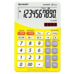 Calculator de birou, 10 digits, 149 x  100 x 27 mm, dual power, SHARP EL-M332BBL - gri/galben