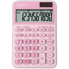 Calculator de birou, 10 digits, 149 x 100 x 27 mm, dual power, SHARP EL-M335BPK - roz