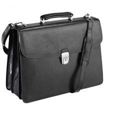 Servieta din piele neagra, pentru laptop, 42 x 31 x 16cm, TONY PEROTTI - Versilia Collection