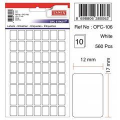 Etichete autoadezive albe, 12 x 17 mm, 560 buc/set, Tanex