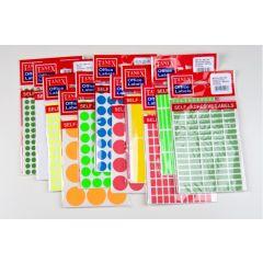 Etichete autoadezive color, D 8 mm - rosu