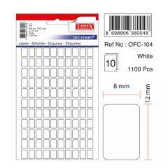 Etichete autoadezive albe,  8 x 12 mm, 1100 buc/set, Tanex