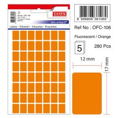 Etichete autoadezive color, 12 x 17 mm, 280 buc/set, TANEX - orange fluorescent