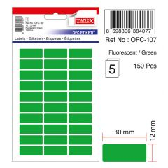 Etichete autoadezive color, 12 x 30 mm, 150 buc/set, TANEX - verde fluorescent