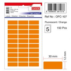 Etichete autoadezive color, 12 x 30 mm, 150 buc/set, TANEX - orange fluorescent