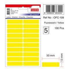 Etichete autoadezive color, 13 x 50 mm, 100 buc/set, TANEX - galben fluorescent