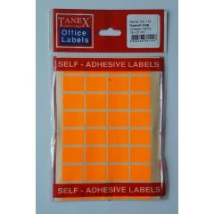 Etichete autoadezive color, 16 x 22 mm, 160 buc/set, TANEX - orange fluorescent