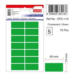 Etichete autoadezive color, 19 x 40 mm, 70 buc/set, TANEX - verde fluorescent