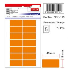Etichete autoadezive color, 19 x 40 mm, 70 buc/set, TANEX - orange fluorescent