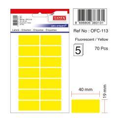 Etichete autoadezive color, 19 x 40 mm, 70 buc/set, TANEX - galben fluorescent