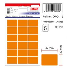 Etichete autoadezive color, 22 x 32 mm, 90 buc/set, TANEX - orange fluorescent