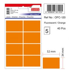 Etichete autoadezive color, 34 x 52 mm, 40 buc/set, TANEX - orange fluorescent