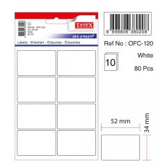 Etichete autoadezive albe, 34 x 52 mm, 80 buc/set, Tanex
