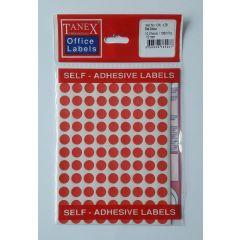 Etichete autoadezive color, D10 mm, 540 buc/set, TANEX - rosu