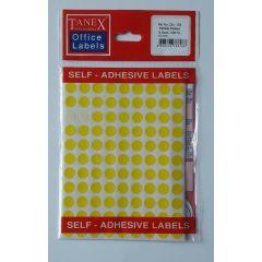 Etichete autoadezive color, D10 mm, 540 buc/set, TANEX - galben