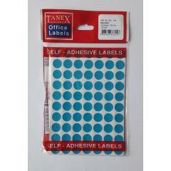 Etichete autoadezive color, D13 mm, 350 buc/set, TANEX - albastru