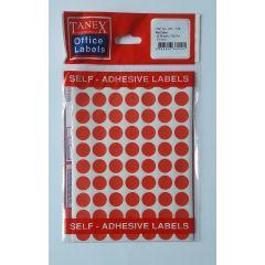 Etichete autoadezive color, D13 mm, 350 buc/set, TANEX - rosu