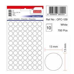 Etichete autoadezive albe, D13 mm, 700 buc/set, Tanex