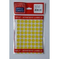 Etichete autoadezive color, D13 mm, 350 buc/set, TANEX - galben