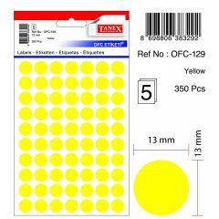 Etichete autoadezive color, D25 mm, 100 buc/set, TANEX - galben