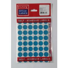 Etichete autoadezive color, D16 mm, 240 buc/set, TANEX - albastru