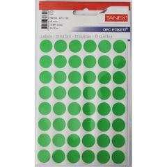 Etichete autoadezive color, D16 mm, 240 buc/set, TANEX - verde