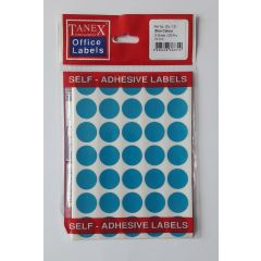 Etichete autoadezive color, D19 mm, 175 buc/set, TANEX - albastru
