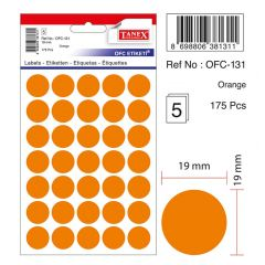 Etichete autoadezive color, D16 mm, 240 buc/set, TANEX - orange