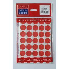 Etichete autoadezive color, D19 mm, 175 buc/set, TANEX - rosu