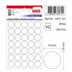Etichete autoadezive albe, D19 mm, 175 buc/set, Tanex