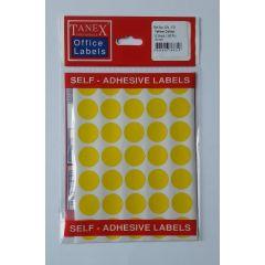 Etichete autoadezive color, D19 mm, 175 buc/set, TANEX - galben
