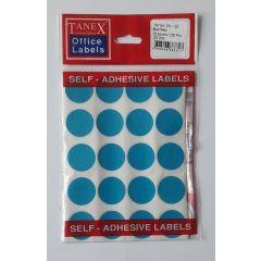 Etichete autoadezive color, D25 mm, 100 buc/set, TANEX - albastru