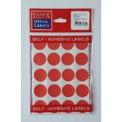 Etichete autoadezive color, D25 mm, 100 buc/set, TANEX - rosu