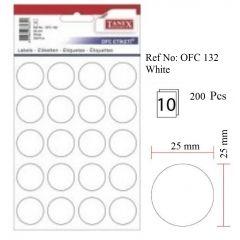 Etichete autoadezive albe, D25 mm, 200 buc/set, Tanex