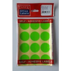 Etichete autoadezive color, D32 mm, 60 buc/set, TANEX - verde