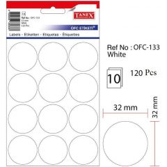 Etichete autoadezive albe, D32 mm, 120 buc/set, Tanex