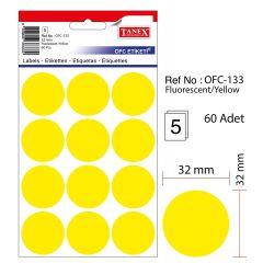 Etichete autoadezive color, D32 mm, 60 buc/set, TANEX - galben