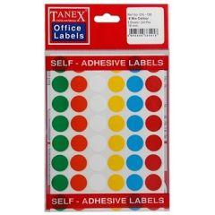 Etichete autoadezive color mix, D16 mm, 240 buc/set, TANEX - culori asortate